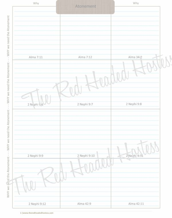 Atonement Scripture Boxes - Red Headed Hostess (13 Page Simple Theme)