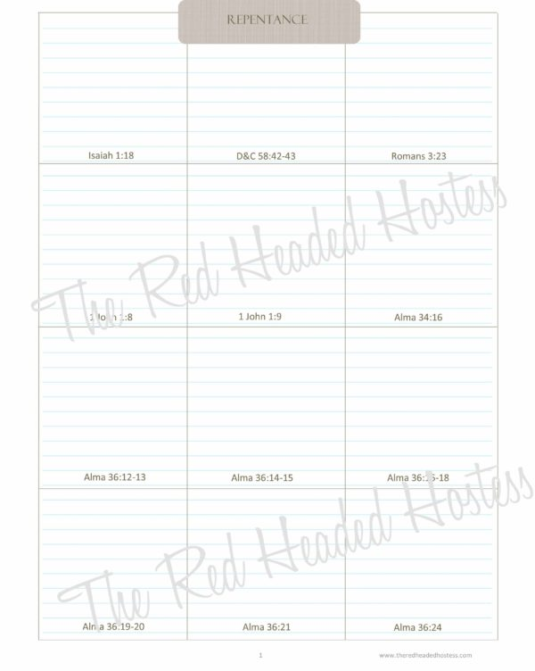 Repentance Scripture Boxes-The Red Headed Hostess (Simple Theme)