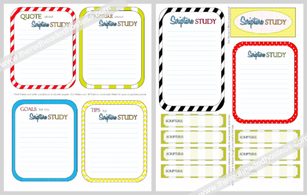Scripture Study Journal Cards