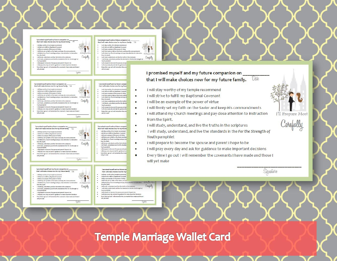 Temple Marriage Wallet Card