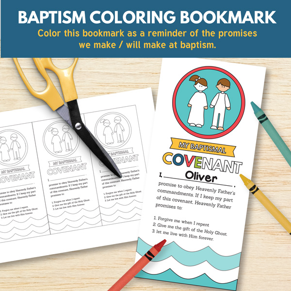 Baptism Coloring Bookmark - Primary 3 Lesson 13