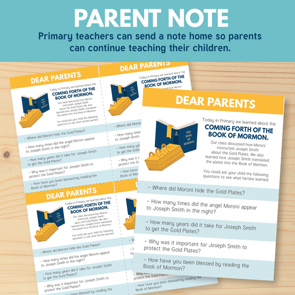 Note to Parents for Primary 3 Lesson 15 - The Coming Forth of The Book of Mormon